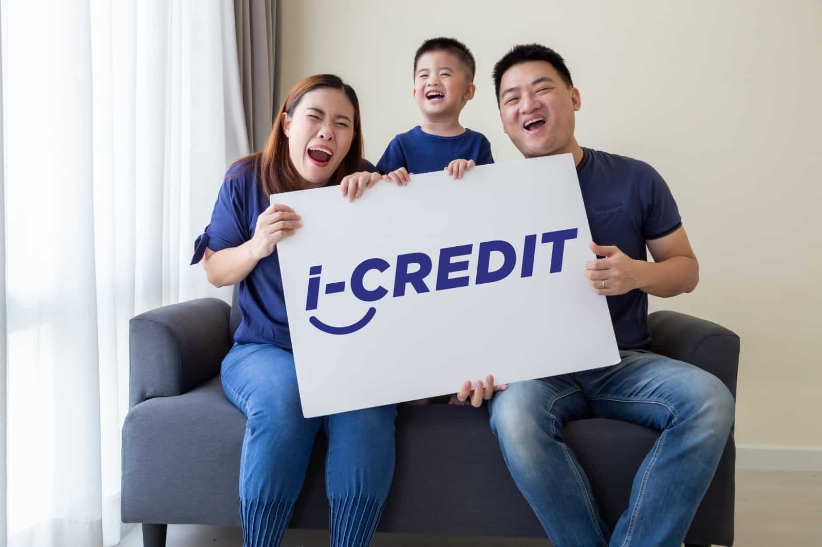 happy family holding iCredit, licensed money lender
